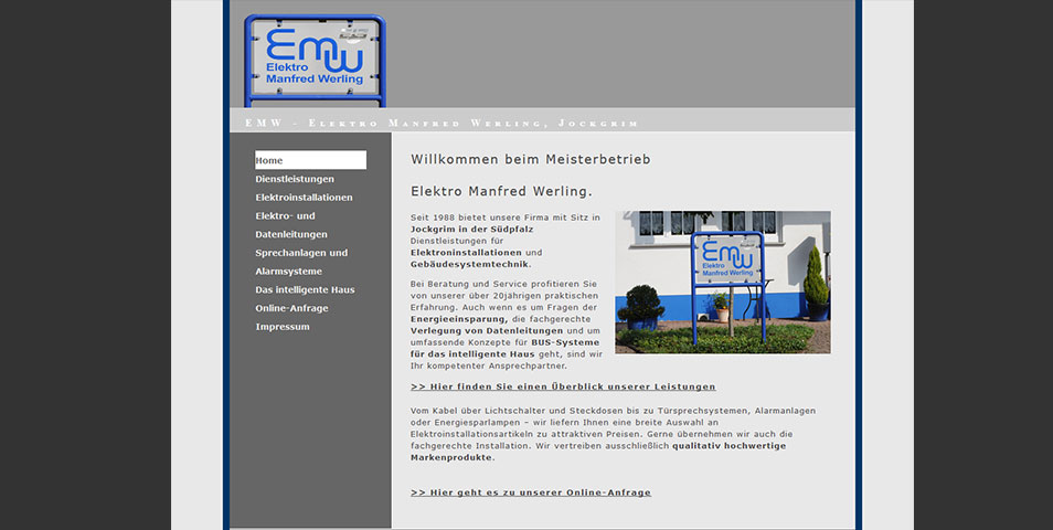 Webseite der Firma EMW Elektro Manfred Werling, Jockgrim