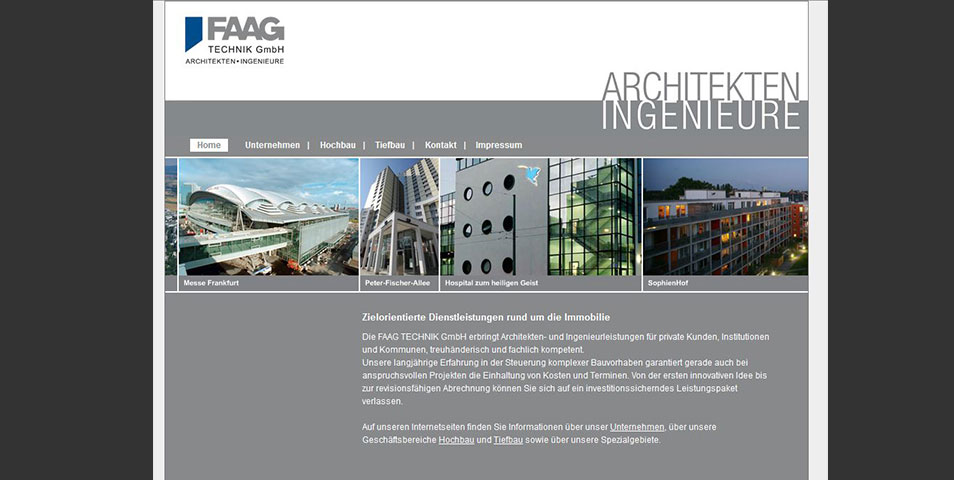 Webseite FAAG TECHNIK GmbH Architekten + Ingenieure